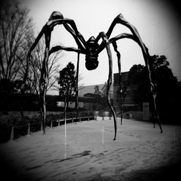 Gigantic spider at Roppongi Hills*, by Louise Bourgeois 2002 (Bronze, stainless steel and marble) Gelatin silver print, photo taken with Holga + Ilford Delta 100