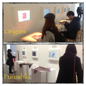 stations to practice traditional Japanese Furoshiki and Origami
